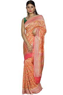 Picture of Demanding Orange Colored Banarasi Georgette Saree