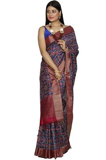 Picture of Royal Blue & Magenta Banglore Silk Saree