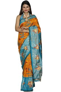 Picture of Smashing Mustard & Peacock Blue Colored Patola Silk Saree