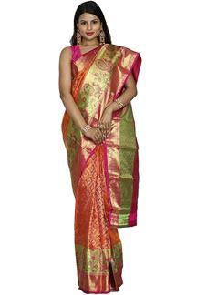Picture of Orange & Pink Kanjivaram Brocade Silk Saree