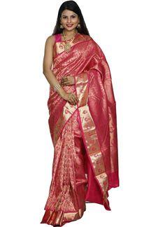 Picture of Glowing Pink Color Kanjivaram Brocade Silk Saree