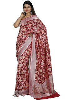 Picture of Pleasant Maroon Colored Banarasi Georgette Saree