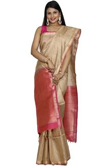 Picture of Flaunt Pink Colored Bangalore Tussar Silk Saree