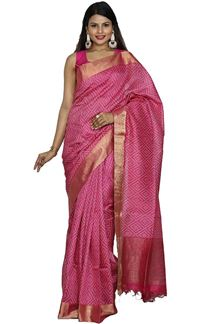 Picture of Intricate Pink Colored Bangalore Silk Saree