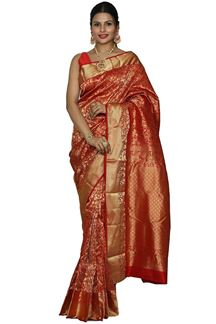 Picture of Charming Red Colored Kanjivaram Brocade Silk Saree