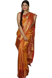Picture of Glorious Red & Orange Colored Kanjivaram Silk Saree