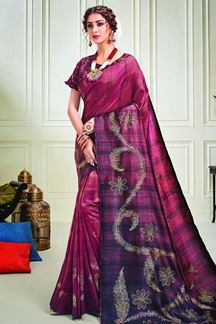 Picture of Vibrant Wine & Purple Color Silk Designer Saree