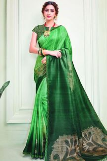 Picture of Mother-nature Green Colored Designer Silk Saree