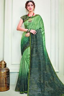 Picture of Green Colored Designer Silk Saree