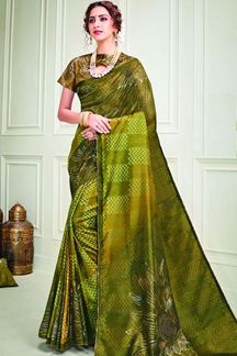 Picture of Green & Mustard Color Designer Silk Saree