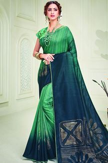 Picture of Green & Peacock blue Designer Silk Saree