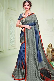 Picture of Stunning Grey & Blue Color Designer Silk Saree
