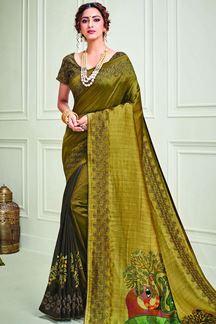Picture of Mustard Green Color Designer Silk Saree