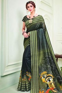 Picture of Traditional beauty In Olive-Green & Black Shaded Silk Saree
