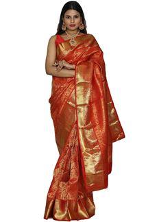 Picture of Red Colored Festive Wear Kanjivaram Silk Saree