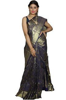 Picture of Kanjivaram Brocade Silk Royal Blue Color Saree