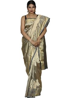 Picture of Flaunt Grey With Bronze Colored Kanjivaram Silk Saree