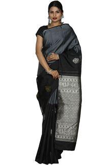 Picture of Grey & Black Color Kanjivaram Silk Saree