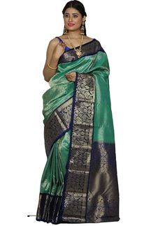 Picture of Kanjivarama Green & Blue Colored Brocade Silk Saree