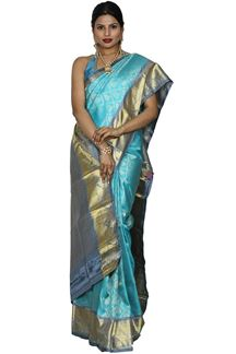 Picture of Brocade Kanjivarama Sky Blue & Grey Color Silk Saree