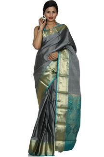 Picture of Refreshing Grey & Rama Green Color Kanjivaram Silk Saree