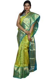 Picture of Gleaming Parrot Green Colored Kanjivarama Brocade Silk Saree