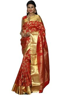 Picture of Exceptional Red Colored Kanjivaram Silk Saree