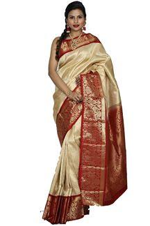 Picture of Blooming Golden & Maroon Colored Brocade kanjivaram Silk Saree