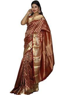 Picture of Attractive Dark Maroon Color Kanjivaram Silk Saree