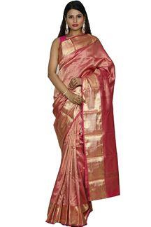 Picture of Breathtaking Carrot Pink Kanjivaram tissue Silk Saree