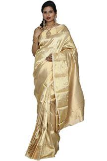 Picture of Traditionally Golden Colored Kanjivaram Tissue Silk Saree