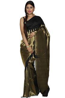 Picture of Glorious Black Colored Kanjivaram Silk Saree