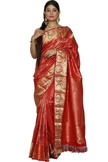 Picture of Pleasant Red Colored Kanjivaram Brocade Silk Saree