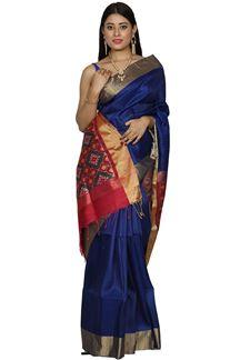 Picture of Blue & Rani Color Bangalore Raw Silk saree