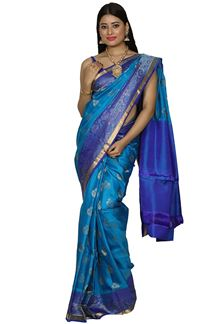 Picture of Lovely Peacock Blue Color Dharmavaram Silk Saree