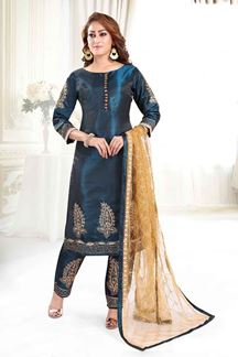 Picture of Imposing Blue Colored Silk Pant Style Suit
