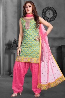 Picture of Glorious Pink & Green Colored Patola Print Suit