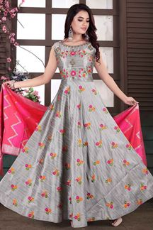 Picture of Grey Color Anarkali Suit With Dupatta