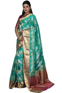 Picture of Green & Magenta Colored Designer Dharmavaram Silk