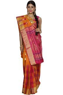 Picture of Orange Colored Designer Dharmavaram Silk