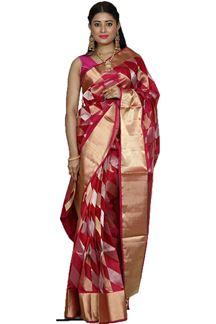 Picture of Elegant Rani Pink Colored Designer Dharmavaram Silk
