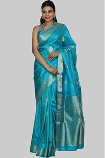 Picture of Peacock Blue Colored Designer Dharmavaram Silk
