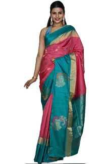 Picture of Onion Pink & Rama Green Colored Designer Dharmavaram Silk