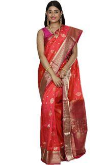 Picture of Orange & Rani Colored Designer Dharmavaram Silk