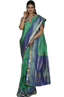 Picture of Olive green & Royal Blue Colored Designer Dharmavaram Silk