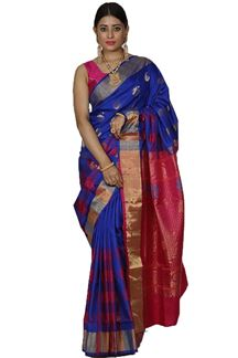 Picture of Royal Blue & Pink Colored Designer Dharmavaram Silk