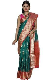 Picture of Rama Green & Orange Colored Designer Dharmavaram Silk
