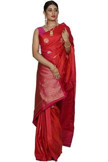 Picture of Pleasant Pink Colored Designer Dharmavaram Silk