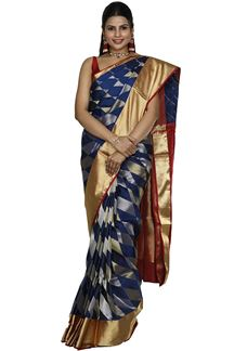 Picture of Royal Blue & Red Colored Designer Dharmavaram Silk