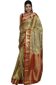 Picture of Mehendi Green & Rust Colored Designer Dharmavaram Silk